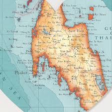 Phuket Map Phuket And Southern Thailand Map Heart Print By Bombus Off The Peg