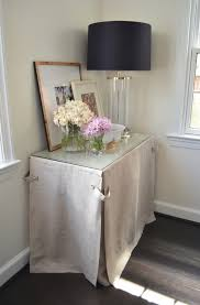 skirted console table transitional living room one story