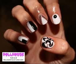 60 u0027s monocrome geometric nails see more of my nail art at