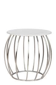 table bout de canap bout de canapé ronde moderne en métal argent et plateau marbre 60x6