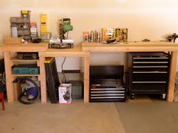 tips small l shaped natural wood garage workbench ideas