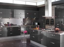 Dark Gray Kitchen Cabinets by Kitchen Grey High Gloss Wood Kitchen Cabinet With Grey Metal
