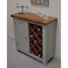 camborne sea green painted oak wine drinks cabinet wine rack