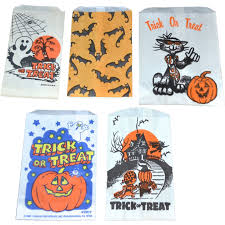 set of 5 halloween candy trick or treat paper bags from