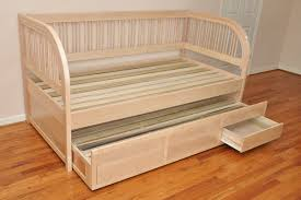 furniture beige polished wood daybed frame with drawer underneath