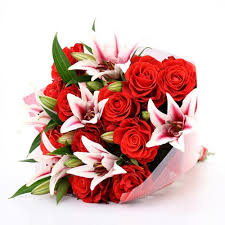 Lilies Flower 12 Red Roses And 6 Pink Lilies Flower Bouquet In 7 Sector Dwarka