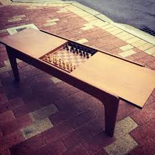 1950s teak coffee table with chess board so last century wa