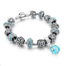 crystal charm bracelet beads images 925 silver crystal charm bracelets for women with purple murano jpg