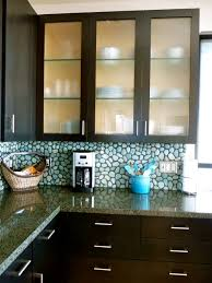 Kitchen With Glass Cabinet Doors Brilliant Glass Kitchen Cabinets For House Renovation Ideas With
