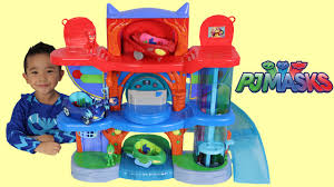 pj masks headquarters playset toys unboxing playing