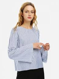 white bell sleeve blouse blue white striped s bell sleeve striped blouse shirt