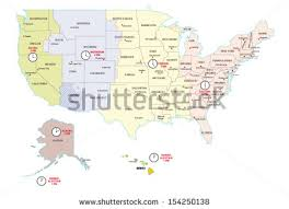 usa map time zone map united states time zones map stock vector 154250138