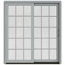 jeld wen sliding glass doors shop jeld wen w 2500 71 25 in 15 lite glass arctic silver wood