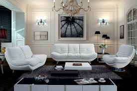 modern white rounded leather sofa set