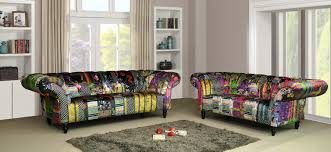 2 Seater Fabric Chesterfield Sofa by Scroll Chesterfield 3 2 Seater Fabric Patchwork Sofa Suite
