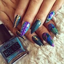 blue and purple stiletto nails fashion nail pretty nail art nail