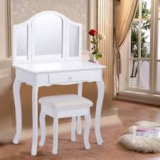 Make Up Tables Costway White Tri Folding Mirror Vanity Makeup Table Set Bedroom W