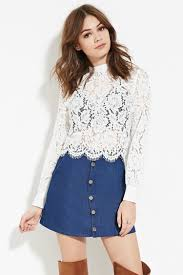 forever 21 white blouse lyst forever 21 floral eyelash lace top in white