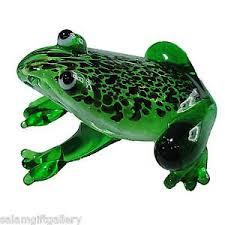 cgb ltd small glass frog ornament green artisan figure bnib