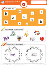 lowercase letter a alphabet worksheet from super simple learning