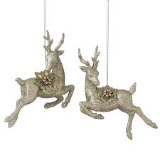 deer ornaments set of 2 assorted