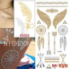 21x10cm gold flash golden temporary tattoos metalic