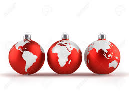ornaments with world maps 3d render stock photo
