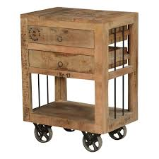 Rustic End Tables Style Rustic Solid Wood 2 Drawer End Table W Rolling Wheels