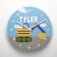 theme clock construction theme kids personalized excavator wall clock