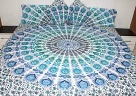peacock turquoise blue turquoise peacock mandala bedding sets pillows cover