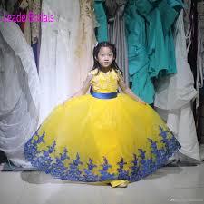 blue yellow lace dresses tulle arabic flower dress