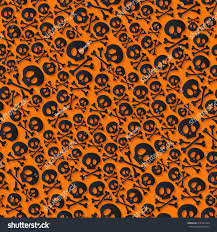 cute spooky background cute black skulls crossbones seamless pattern stock vector