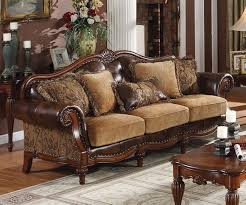 Wooden Sofas Sale 3733 50 Dreena 3 Pc Bonded Leather And Chenille Sofa Set
