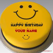 write name on beautiful smiley cake profile pics