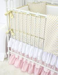 girls frilly bedding blush and gold dot ruffle baby bedding caden lane