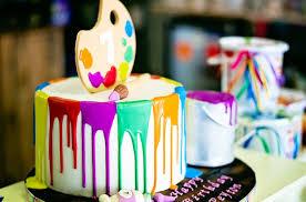 Kara U0027s Party Ideas Paint Drizzle Birthday Cake From A Rainbow Art