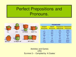spag perfect prepositions and pronouns by kcoates teaching
