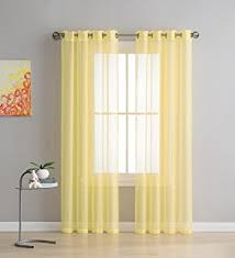 Light Yellow Sheer Curtains Amazon Com Miuco 2 Panels Grommet Textured Solid Sheer Curtains