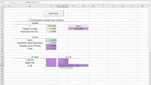 excel 2016 template for hypothesis tests z tests for the