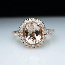 morganite engagement ring gold oval morganite diamond halo gold engagement ring cocktail