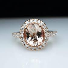 morganite gold engagement ring oval morganite diamond halo gold engagement ring cocktail ring