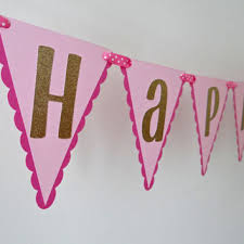 Happy Birthday Banner Pink Gold from EricasCrafties on Etsy