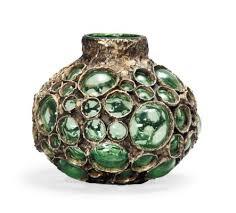 Fantoni Vase A Marcello Fantoni B 1915 Blown Glass And Cold Painted Metal