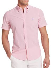 light pink t shirt mens lyst polo ralph lauren striped seersucker sportshirt in pink for men