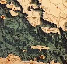 Ocean Depth Map Custom Wood Charts Of Lake Winnipesaukee From Carved Lake Art