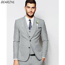 mens light gray 3 piece suit light gray suits for wedding summer tuxedo groom wear 3 piece suit