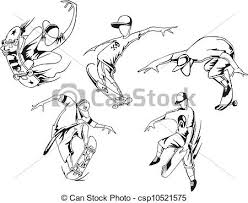 vectors illustration of skateboarding set of black and white