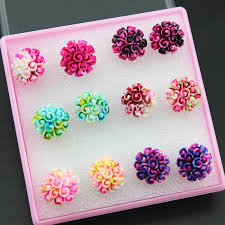 plastic stud earrings new fashion 6 pairs resin carved cluster flower stud earrings for