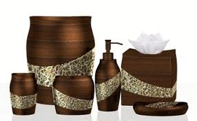 resin and cracked glass contemporary bathroom accessories set