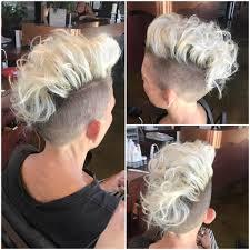 undercut women s hairstyles women u0027s platinum curly undercut mohawk style pixie short hairstyle